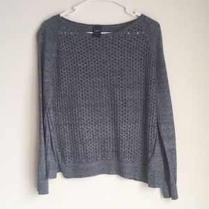 Gap Blue Perforated Textured Sweater • Small